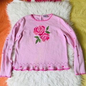 Hanna Pink Knit Rose Appliqué Sweater 150